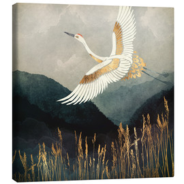 Canvas print  Elegant Flight of a Crane - SpaceFrog Designs