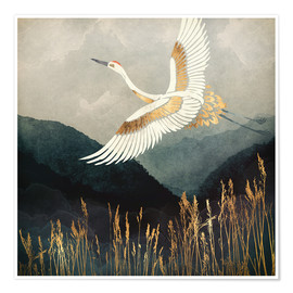 Premium poster  Elegant Flight of a Crane - SpaceFrog Designs