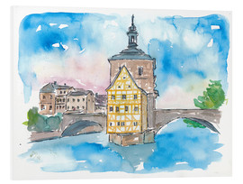 Foam board print  Bridge In Bamberg Bavaria with City Hall - M. Bleichner