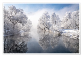 Premium poster Winter idyll Lake Kochelsee in Bavaria