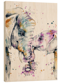 Wood print  That type of love (elephants) - Sillier Than Sally
