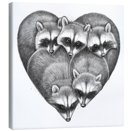 Canvas print  Heart from raccoons - Nikita Korenkov