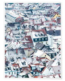 Premium poster  Snowy rooftops in the old town of Heidelberg - Jan Christopher Becke