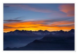 Premium poster  Colorful sky at sunset over the Alps - Fabio Lamanna