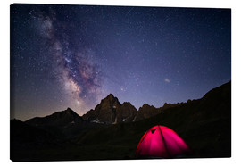 Canvas print  Glowing camping tent under starry sky on the Alps - Fabio Lamanna