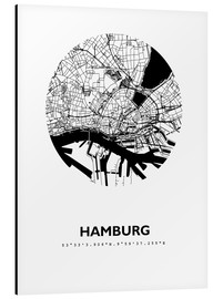 Aluminium print  City map of Hamburg - 44spaces