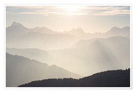 Premium poster Sunlight behind mountain peaks silhouette, the Alps