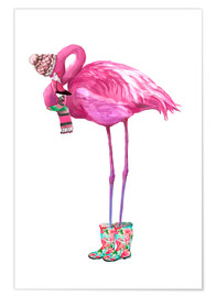 Premium poster  Pink flamingo with rubber boots - Kidz Collection