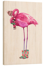 Wood print  Pink flamingo with rubber boots - Kidz Collection