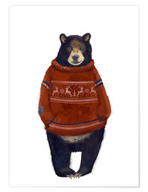 Premium poster Mr. Bearr in Norwegian sweater