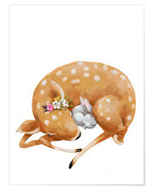 Premium poster  Fawn and baby bunny - Kidz Collection
