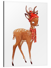 Aluminium print  Winter deer with scarf and hat - Kidz Collection