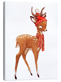 Canvas print  Winter deer with scarf and hat - Kidz Collection