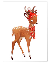 Premium poster  Winter deer with scarf and hat - Kidz Collection