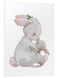 Foam board print  Cute white bunnies - mother with child - Kidz Collection