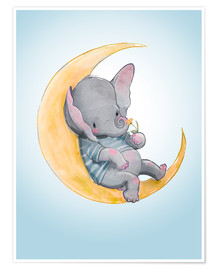 Premium poster  Elephant in the moon - Kidz Collection