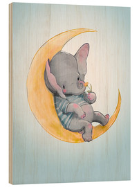 Wood print  Elephant in the moon - Eve Farb