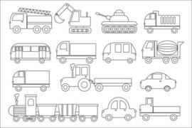 Colouring poster  Vehicles / Transport
