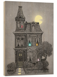 Wood print  Haunted house - Terry Fan