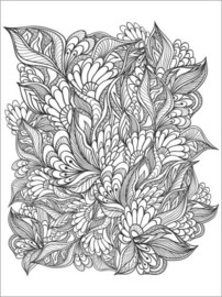 Colouring poster  Flowers and leaves