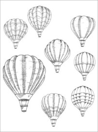 Colouring poster  Hot air balloons