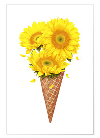 Premium poster  Ice cream with sunflowers - Valeriya Korenkova