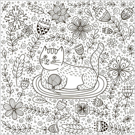 Colouring poster  Playful cat