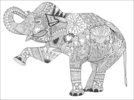 Colouring poster  Dancing elephant - Sharon Turner