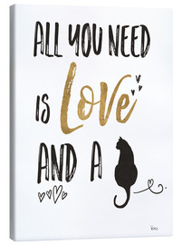 Canvas print  All you need is love and a cat - Veronique Charron