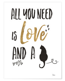 Premium poster  All you need is love and a cat - Veronique Charron