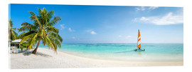 Acrylic print  Maldives beach panorama with sailboat - Jan Christopher Becke