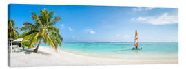 Canvas print  Maldives beach panorama with sailboat - Jan Christopher Becke