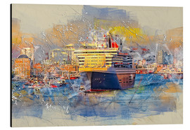 Aluminium print  Hamburg Queen Mary II, in the background the Elbphilharmonie - Peter Roder