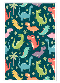 Premium poster  Colorful dinosaurs - Kidz Collection