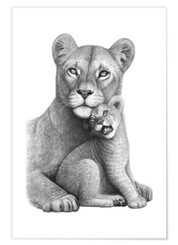 Premium poster Lioness with her boy