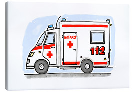 Canvas print  Hugos ambulance (German) - Hugos Illustrations