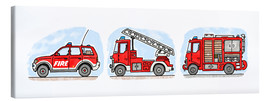 Canvas print  Hugo's fire trucks - Hugos Illustrations