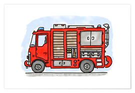 Premium poster Hugos fire department emergency vehicle