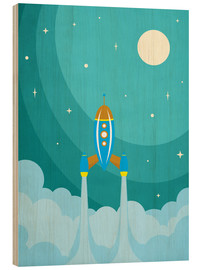 Wood print  Rocket launch into space - Durro Art
