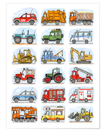 Premium poster  All my cars - Hugos Illustrations