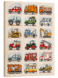Wood print  All my cars - Hugos Illustrations