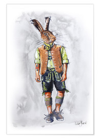 Premium poster Rabbit guy in leather pants