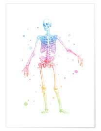 Premium poster  Rainbow skeleton - Mod Pop Deco