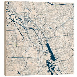 Wood print  City map of Hannover - 44spaces