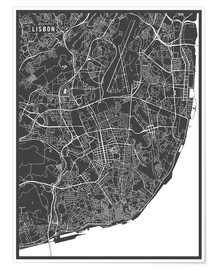 Premium poster  Map of Lisbon, Portugal - Main Street Maps