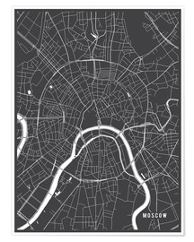 Premium poster  Moscow Russia Map - Main Street Maps