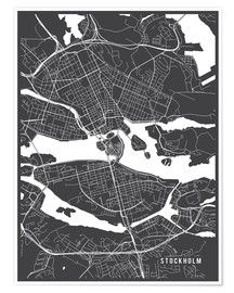 Premium poster  Stockholm Sweden Map - Main Street Maps