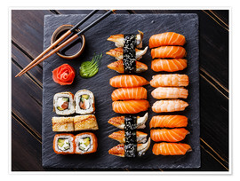 Premium poster  Sushi set on black slate - TPP