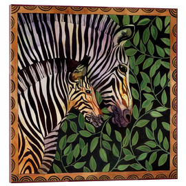 Acrylic print  Two zebras against leaves