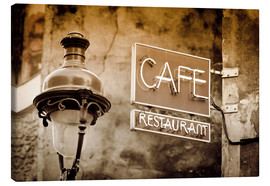 Canvas print  Cafe sign and lamp post, Paris, France. - age fotostock